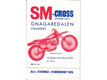Program SM-cross Gnagaredalen Vimmerby 30 april 1967