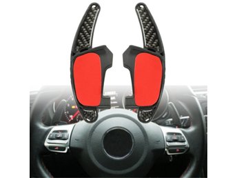 Car Gear Shift Steel Ring Wheel Extension Pedal Carbon Fi...
