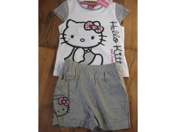T-Shirt Tröja Barn - Hello Kitty Pyjamas T-shirt + Shorts Grå vit 5-6  år THN