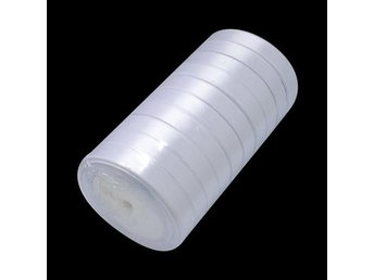 I RULLE (25 YARD = 22, 89 M.) VIT SATIN BAND  20 MM BRED