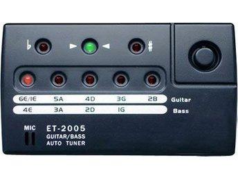 OUTLET - total - Guitar+Bass Tuner - Vaggeryd - Guitar+Bass Tuner Easy-to-read LED indicator - Auto tuner Items of tuning: Guitar/Bass Guitar: 1E,2B,3G,4D,5A, 6E Bass: 1G, 2D, 3A, 4E Pickup mode: Vibration sensor/Internal Mic Tuning mode: Auto Tuning range: A0~A6 A4 Frequency: 440Hz Flat: b  - Vaggeryd