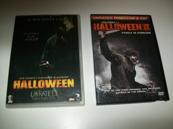 HALLOWEEN 1 + 2  Rob Zombie ,Unrated Director´s Cut DVD ,obs ingen text på 2:an
