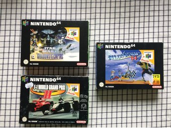 3st Nintendo 64 spel F-1 World Grand Prix 2 , Pilotwings 64 , Star wars