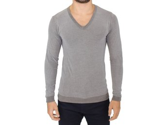 Ermanno Scervino - Gray Cotton Stretch V-neck Pullover Sweater