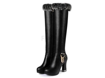 Dam Boots Mujer Warm Fur Winter High Heel Shoes Black 41