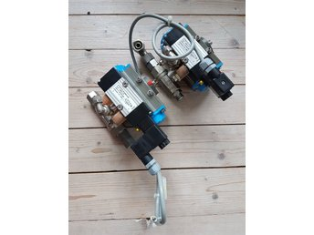 2x STASTO Pneumatic actuator with mounted pilot valve, silencers and ball valve