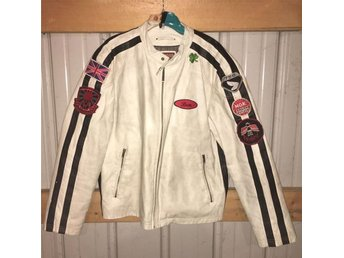 Wilson Distressed White Leather Motorcycle Jacket With Patches Size L