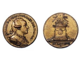 KARL XIII. Hertig Karl, riksföreståndare 1792. Hild. 5. Förgylld brons Ø 29 mm. - Alingsås - KARL XIII. Hertig Karl, riksföreståndare 1792. Hild. 5. Förgylld brons Ø 29 mm. - Alingsås