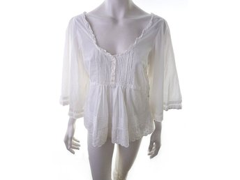 BY MALENE BIRGER size 38, 3/4 sleeves, cotton 100% white embroidery blouse