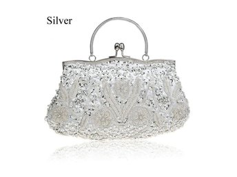 Axelväska Women Clutch Bags Beads Evenin silver