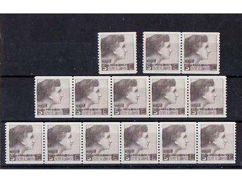 14 st Provmärke, Sven Ewert 1937, Kvinnohuvud brunt (Garbo) - Huskvarna - 14 st Provmärke, Sven Ewert 1937, Kvinnohuvud brunt (Garbo) - Huskvarna