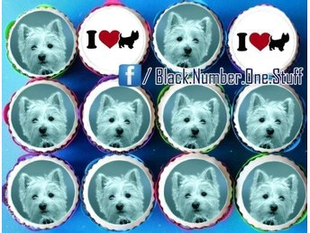 West highland white terrier tårtoblater - Cupcake toppers