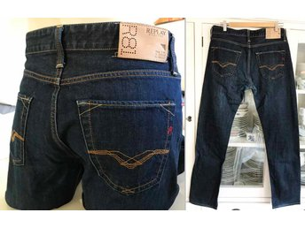 Replay fri frakt Jennon blå jeans byxor byxa regular straight denim W 30 L 34