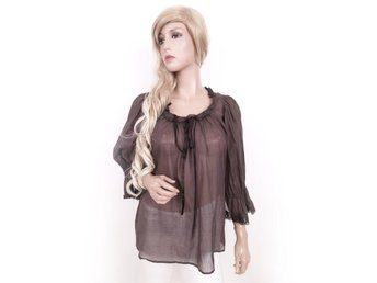 Vintage 3/4 Sleeve Blouse Brown Lace