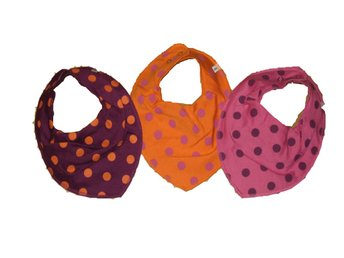 *L-GH* 3-pack PIPPI scarfs haklapp  prickar lila orange rosa
