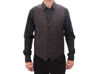 Dolce & Gabbana - Brown Check Wool Single Breasted Vest