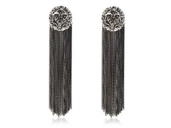 HELT NYTT!!ÖRHÄNGEN Fashion Women Bohemia Style Black Crystal Long Tassel Drop