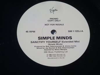 "SIMPLE MINDS - SANCTIFY YOURSELF 12"" 1986 PROMO UK"