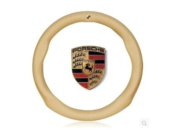 Beige Leather car logo standard-size steering wheel cover 37~38cm for PORSCHE
