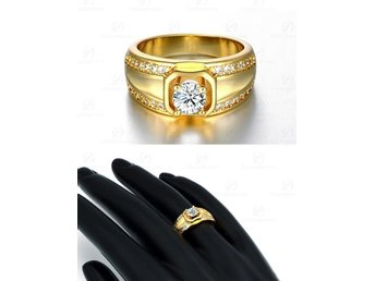 2015 Best Gift 18K Gold Plated Men Jewelry Rings Round Party Jewelry Cubic Zirco