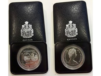 1dollar Winnipeg 1874 - 1974 Kanada 1974 Silver 23,33g Proof