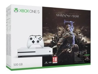 Xbox One S 500G + middle earth shadow of war