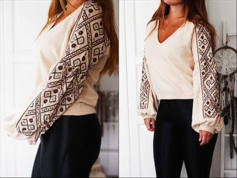 Ny beige FREE PEOPLE tröja sweater brodyr broderad boho bohemian hippie - Partille - Ny beige FREE PEOPLE tröja sweater brodyr broderad boho bohemian hippie - Partille