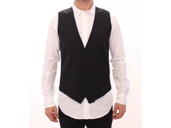Dolce & Gabbana - Black Striped Wool Single Breasted Vest