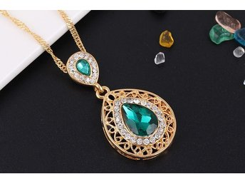 Charm Crystal Water Drop Pendant Necklaces Earrings Sets Shininy Zircon grön