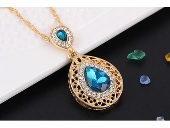 Charm Crystal Water Drop Pendant Necklaces Earrings Sets Shininy Zircon Blå