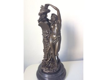 "Skulptur i brons A. Carrier "" La bacchante""/ ""Offering to Bacchus"""