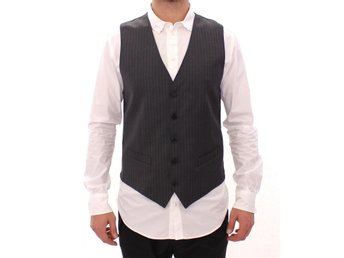Dolce & Gabbana - Gray Striped Wool Single Breasted Vest