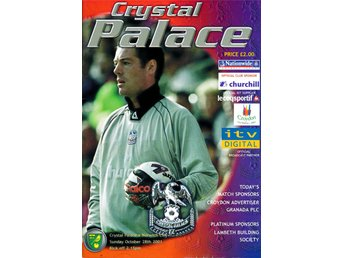 Matchprogram Crystal Palace - Norwich City 28 oktober 2001