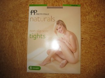 FYND 1 par Pretty Polly Naturals Tight Non Slip sole Stlk S, färg begie 8 denier