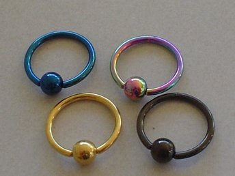 8st Captive Bead Rings Titanium Anodized - Modell 223
