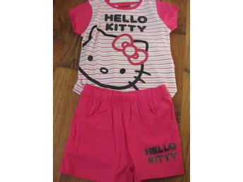 T-Shirt Tröja Barn - Hello Kitty Pyjamas T-shirt + Shorts Rosa vit 5-6  år THN
