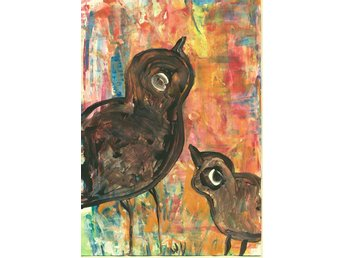 Akvarell, akryl Queen, Styliga påfågel, orginalmålning - Strömstad - Akvarell, akryl Queen, Styliga påfågel, orginalmålning - Strömstad