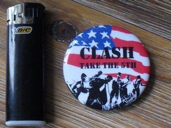 CLASH -STOR Badge / Pin / Knapp (Punk, 1977, Take The 5th,)