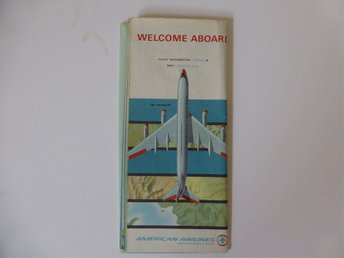 American Airlies ombord info  + AA flight system map ca 1963