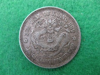 China Manchurian 20 cents 1907 silver 5,2 gram