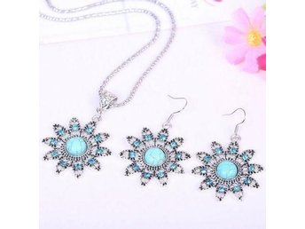 Tibetan Silver Round-Turquoise-Women-Pendant-Necklace-Earrings-Jewelry-Sets