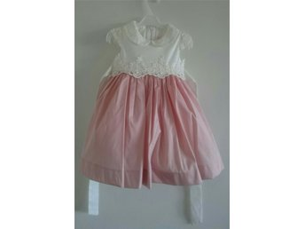 Embriodered & Beaded Girls Dress, White/Pink, Size 2-3 Years