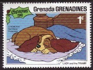 Disney, Grenada, Grenadines, 1-cent Lady and the Tramp, Scott 451