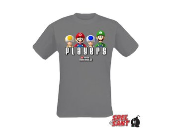 Nintendo Super Mario Bros Players T-Shirt Grå (Large)