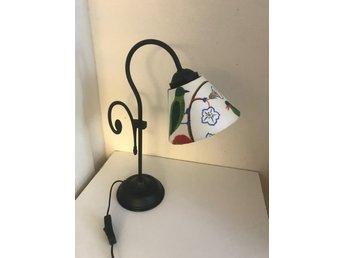 Lampa Ikea med skärm Gröna Fåglar i tyg från Sv.. (398218672