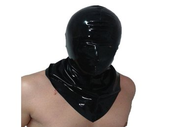 NY HET SEXIG Svart LATEX BONDAGE HANG MASK GUMMI RUBBER FETISH BDSM GAMES, O/S