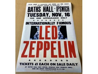 LED ZEPPELIN BATHS HALL IPSWICH 1971 POSTER