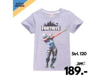 Fortnite T Shirt, Grå, battle royale, tisha, Storlek 120, dabbar
