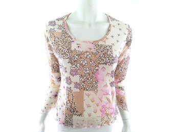 DNA Copenhagen Long sleeve Blouse Size S Pink Flowers beige