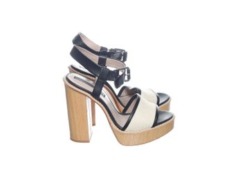 Zara Basic Collection, Sandaletter, Strl: 38, Svart/Beige